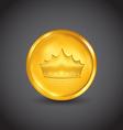 Golden coin with heraldic crown vector image