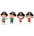 kids wearing pirate hat vector image
