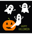 Pumpkin Candles Flying Ghost set Halloween card vector image