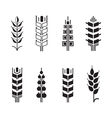 Wheat ear symbols for logo icon set leaves icons vector image