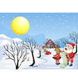 A reindeer beside Santa Claus with his list vector image