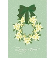 Greeting wedding card with flower wreath vector image
