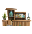 Alcoholic bar with exotic drinks and potions vector image