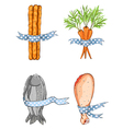 Fish Bread Carrot Chicken with Ribbons vector image
