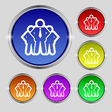 business team icon sign Round symbol on bright vector image