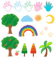 doodles picture for nature objects vector image