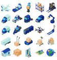 logistic and delivery icons set isometric style vector image