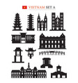vietnam landmarks architecture building object set vector image