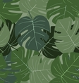 Seamless camouflage pattern of palm leaves dark vector image