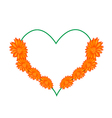 Orange Daisy Flowers in A Heart Shape vector image