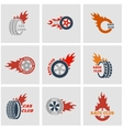 black Racing labels icon set vector image