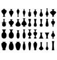 black silhouette vase set on white vector image