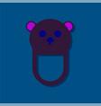 flat icon design teddy bear bib in sticker style vector image