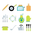 Kitchen tools accessories flat icons set vector image