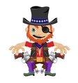 One-eyed bandit with guns character in wild West vector image