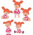 Set Cute Little Girl for you Design Cartoon vector image