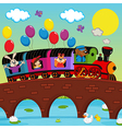 train on bridge with animals vector image