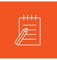 Writing pad and pen line icon vector image