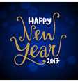 New Year hand drawn lettering on dark blue vector image