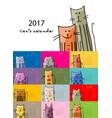 funny cats design calendar 2017 vector image
