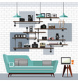 living room and sofa vector image