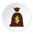 Big bag of money icon circle vector image