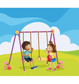 A boy and a girl at the playground vector image
