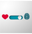 heart and brain selection button vector image