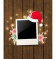 Christmas background with photo and Santa hat vector image