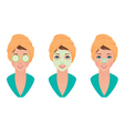Set girl with clay mask on her face with a mask of vector image