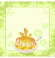 Ice Cream Citrus Waffles and Floral Background vector image