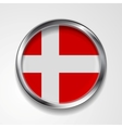 Abstract button with metallic frame Danish flag vector image