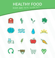 Healthy food hand drawn icon set vector image