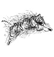 Hand sketch leaping tiger vector image