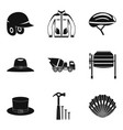 head covering icons set simple style vector image