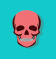 human skull paper sticker on stylish background vector image