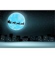 Santa flying moon city vector image