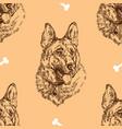 seamless pattern hand drawing german shepherd vector image