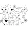 Valentines Day Kids Set vector image