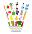 shopping basket full of groceries products vector image