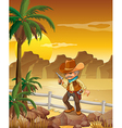 A gunman standing above the rock near the palm vector image vector image