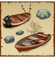 Two ancient pirate boats on land vector image