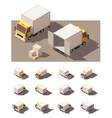 isometric box truck icon set vector image vector image