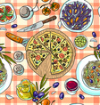 beautiful hand-draw simpless pattern italian food vector image