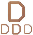 Brown letter d logo design set vector image