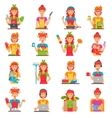 Housewife Flat Color Icons Set vector image