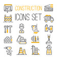 linear black yellow construction icons set vector image