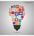 Modern light bulb with cloud of colorful vector image