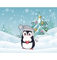 Penguin Animal in Hat and Heart Winter Landscape vector image