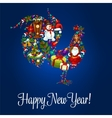 Happy New Year greeting poster Rooster symbol vector image